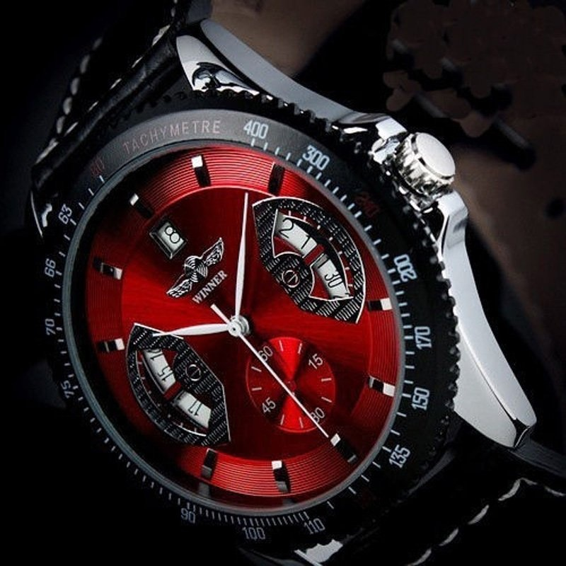 Amart Men Sports Leather Automatic Mechanical Analog Wrist WatchRed - intl
