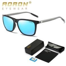 AORON Men's Polarized Sunglasses Classic Brand Designer Goggles Defending Coating Lens Women's Fashion Leisure Shades Glasses (Black Blue) – intl