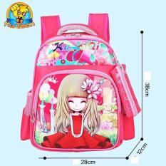 Ba lô học sinh mẫu giáo – tiểu học bé gái hàng nhập khẩu, chống gù lưng, chống đổ mồ hôi balokeo-HD11