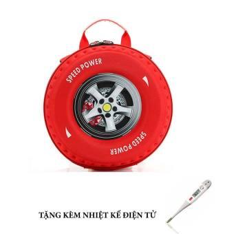 Balo bánh xe 3D + Tặng nhiệt kế điện tử (Đỏ)