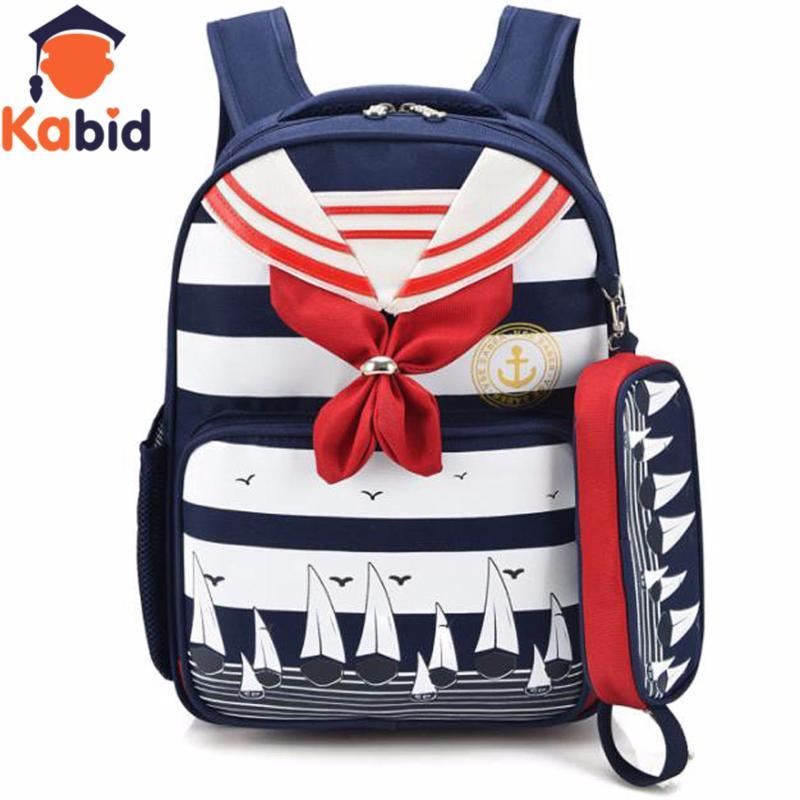 Giá bán Balo chống gù lưng  học sinh Kabid họa tiết Thủy thủ kèm hộp bút xinh xắn ( Nơ đỏ )
