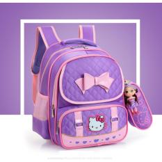 Balo đi học cao cấp mèo Kitty kèm ví + búp bê, chống gù lưng cho bé KDR-BL024 Kodoros