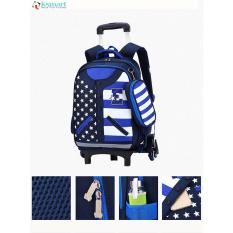 (FREE SHIP TOÀN QUỐC)Balo kéo trẻ em 6 bánh xe cho học sinh EKUIZAI – American leo mọi địa hình kèm hộp bút xinh xắn US ( Blue) Tặng áo cặp