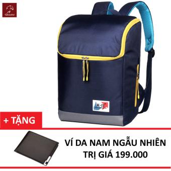 Balo Laptop Glado Cylinder GC04 (Xanh) + Tặng Ví Nam Thời Trang