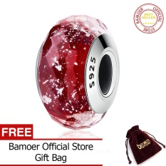 BAMOER Free Shpping 100% 925 Sterling Silver Fascinating Red Murano Glass Beads Fit Original Bracelet DIY Jewelry Gift SCZ032
