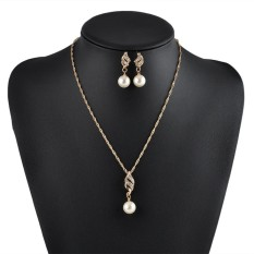 Bigood Bride Fashion Jewelries Chic Wedding Pearl Earrings Necklace Suit – intl