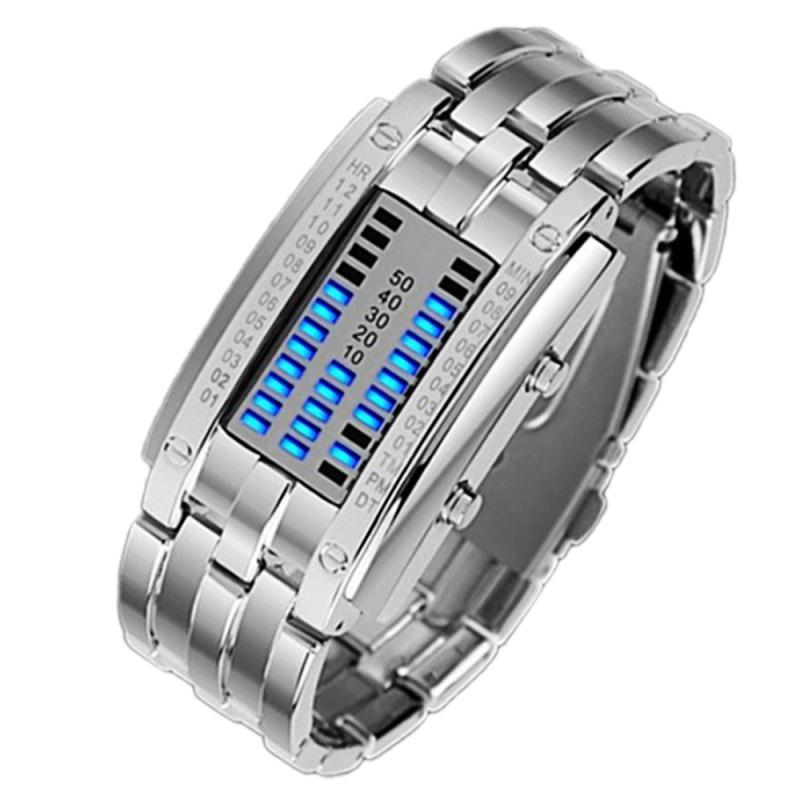 Nơi bán Binary Matrix Blue LED Waterproof Digital Wrist Watch Silver for Women - intl