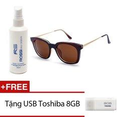 Bộ 1 kính mát nam nữ và 1 chai nước rửa kính MKH XL008 (Nâu) + Tặng 1 USB Toshiba 8GB