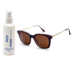 Bộ 1 kính mát nam nữ và 1 chai nước rửa kính PAN XL008 (Nâu)