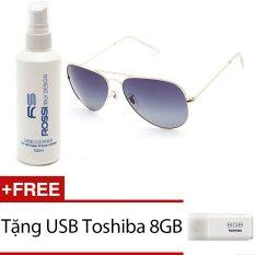 Bộ 1 Kính mát nam Polaroid và 1 chai nước rửa kính MKH 3025 (Đen khói) + Tặng 1 USB Toshiba 8GB