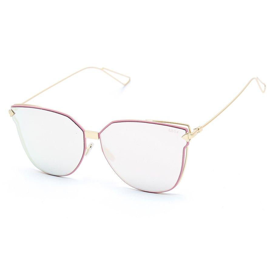 Bộ 1 kính mát nam và 1 chai nước rửa kính MKH XL7777 (Trắng gương viền hồng)