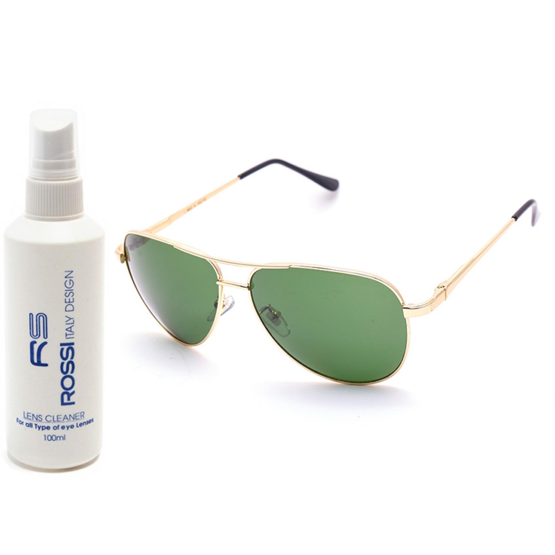 Bộ 1 kính mát nam và 1 chai nước rửa kính RB3510 (Vàng kính xanh)