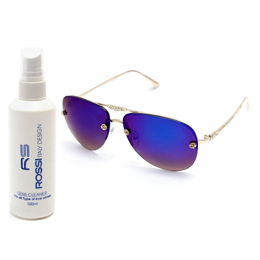 Bộ 1 kính mát nữ và 1 chai nước rửa kính PAN XL2222 (Xanh biển)