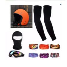 Bộ 1 nón bảo hiểm 3/4 đầu (đen) + 1 mũ ninja + 1 đôi bao tay chống nắng + 1 kính phượt + Tặng 1 khăn phượt đa năng màu ngẫu nhiên' ( CAM NHÁM )