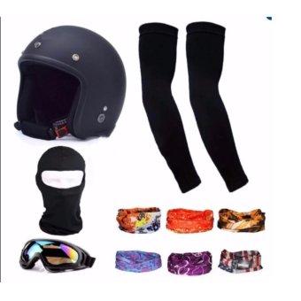 Bộ 1 nón bảo hiểm 3/4 đầu (đen) + 1 mũ ninja + 1 đôi bao tay chống nắng + 1 kính phượt + Tặng 2 khăn phượt đa năng màu ngẫu nhiên