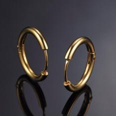 Bộ 2 bông tai khoen tròn khuyên tai tròn 16mm màu vàng phong cách hàn quốc