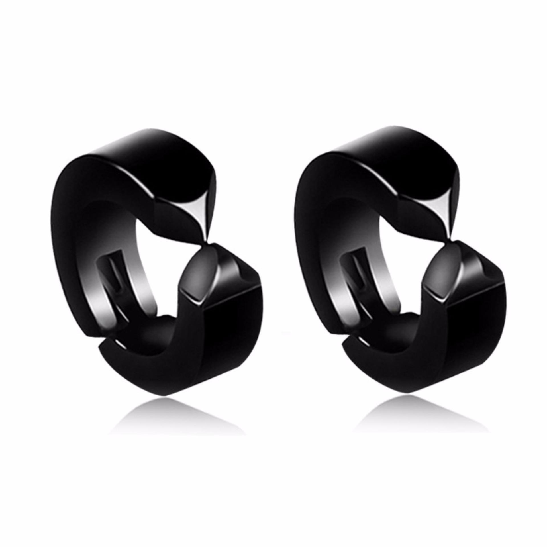 Cập Nhật Giá Bộ 2 bông tai nam khoen tròn đen kẹp không bấm lỗ thời trang