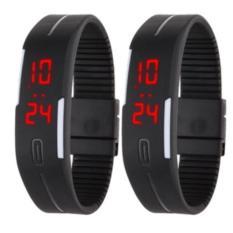 Bộ 2 Đồng hồ led kiểu dáng thể thao dây dẻo Sport (Đen)