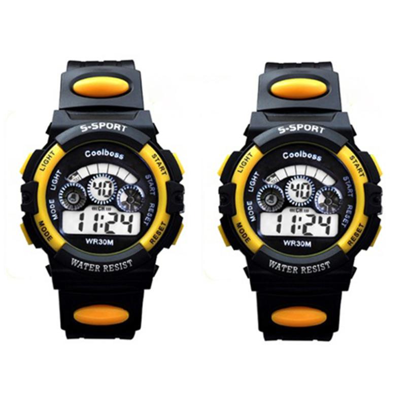 Bộ 2 Đồng hồ trẻ em dây nhựa chống nước (Vàng Đen) bán chạy