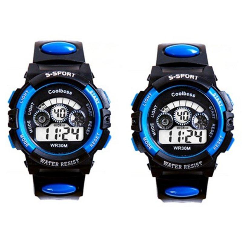 Bộ 2 Đồng hồ trẻ em dây nhựa chống nước (Xanh Đen) bán chạy