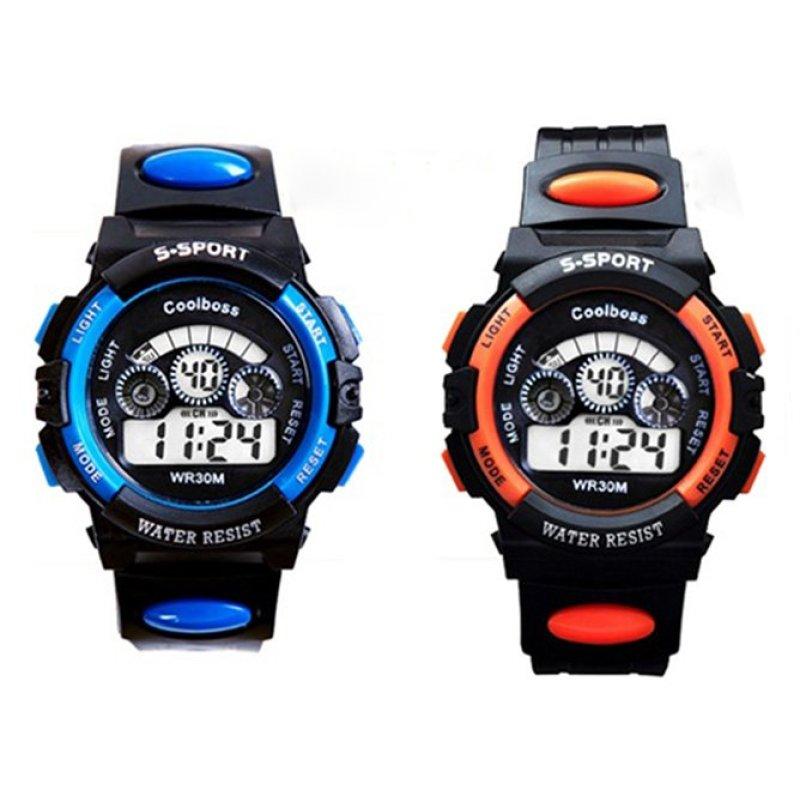 Bộ 2 Đồng hồ trẻ em dây nhựa chống nước (Xanh Đen - Cam Đen) bán chạy