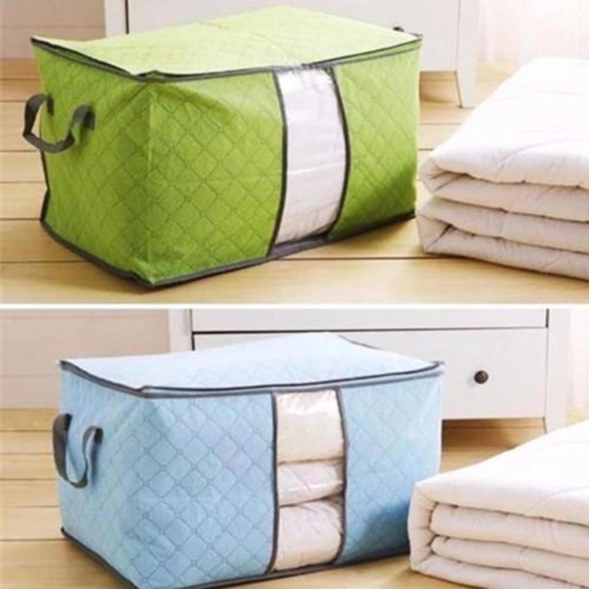 Nơi mua Bộ 2 túi vải đựng chăn màn quần áo ( xanh lá+ xanh dương)