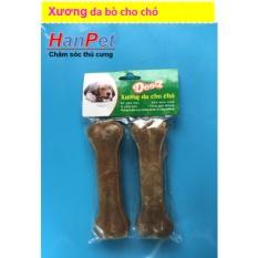 Bộ 2 Xương ống da bò cho chó gặm – phù hợp với chó trên 7kg (hanpet 370) 15cm