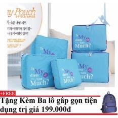 Bộ 5 túi Bag in bags tiện dụng (xanh dương) + Tặng kèm balo du lịch gấp gọn