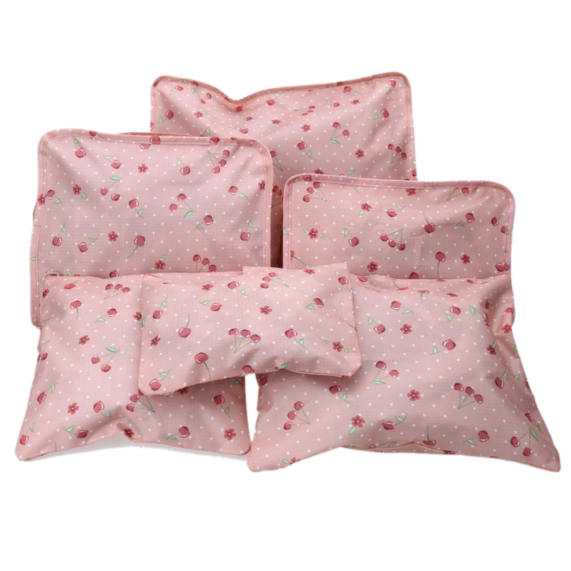 Giá Bộ 6 túi du lịch cherry chống thấm ( hồng nhạt)
