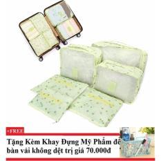 Bộ 6 túi du lịch cherry chống thấm ( xanh lá)+ Tặng kèm khay đựng mỹ phẩm để bàn