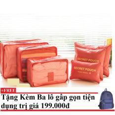 Bộ 6 túi du lịch chống thấm Bags in Bag (cam) + Tặng kèm balo du lịch gấp gọn