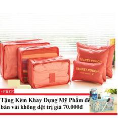 Bộ 6 túi du lịch chống thấm Bags in Bag (cam) +Tặng kèm khay đựng mỹ phẩm để bàn