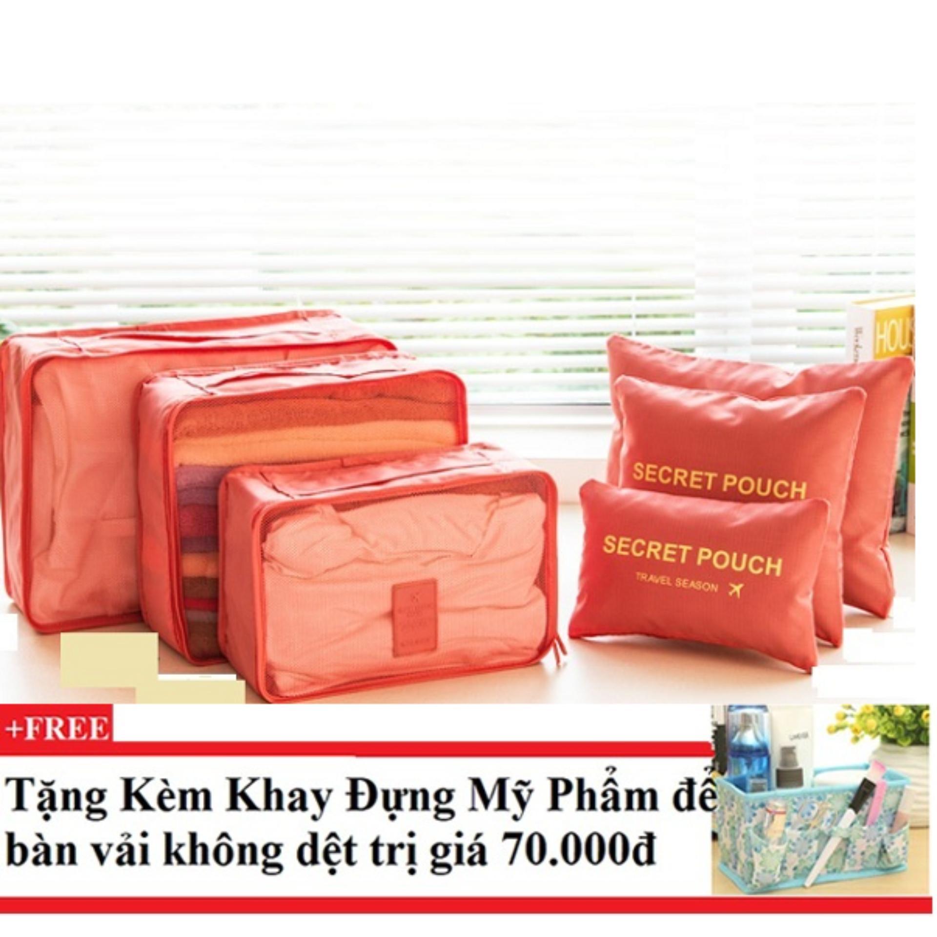 Nơi mua Bộ 6 túi du lịch chống thấm Bags in Bag (cam) +Tặng kèm khay đựng mỹ phẩm để bàn