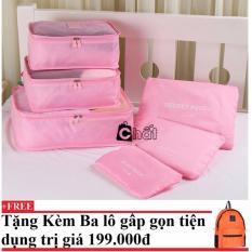 Bộ 6 túi du lịch chống thấm Bags in Bag (hồng nhạt) + Tặng kèm balo du lịch gấp gọn