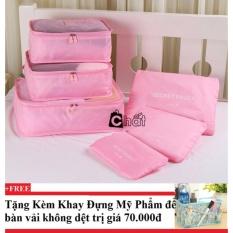 Bộ 6 túi du lịch chống thấm Bags in Bag (hồng nhạt) + Tặng kèm khay đựng mỹ phẩm để bàn