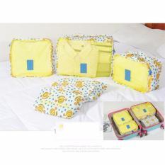 Bộ 6 túi du lịch chống thấm Bags in Bag – Vàng mặt cười tim xanh