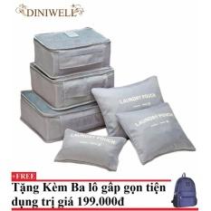 Bộ 6 túi du lịch chống thấm Bags in Bag (xám)+ Tặng kèm balo du lịch gấp gọn