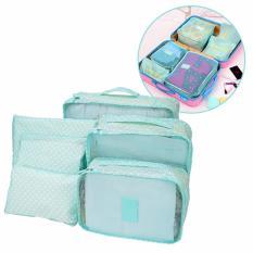 Bộ 6 túi du lịch chống thấm Bags in Bag – Xanh lá chấm bi