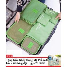 Bộ 6 túi du lịch chống thấm Bags in Bag ( xanh lá) +Tặng kèm khay đựng mỹ phẩm để bàn