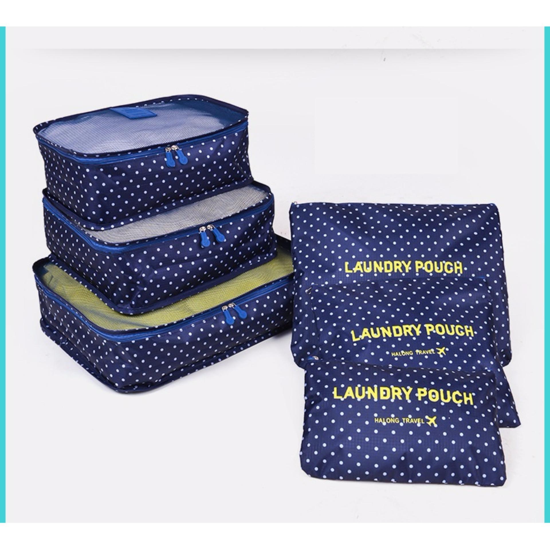 So Sánh Giá Bộ 6 túi du lịch chống thấm Chodeal24h – Chấm bi – Xanh dương đậm