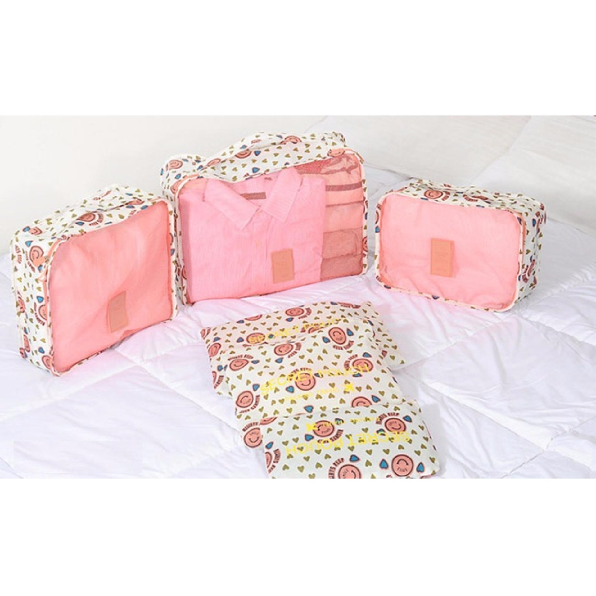 Giá bán Bộ 6 túi du lịch chống thấm Chodeal24h – Mặt cười tim – Hồng