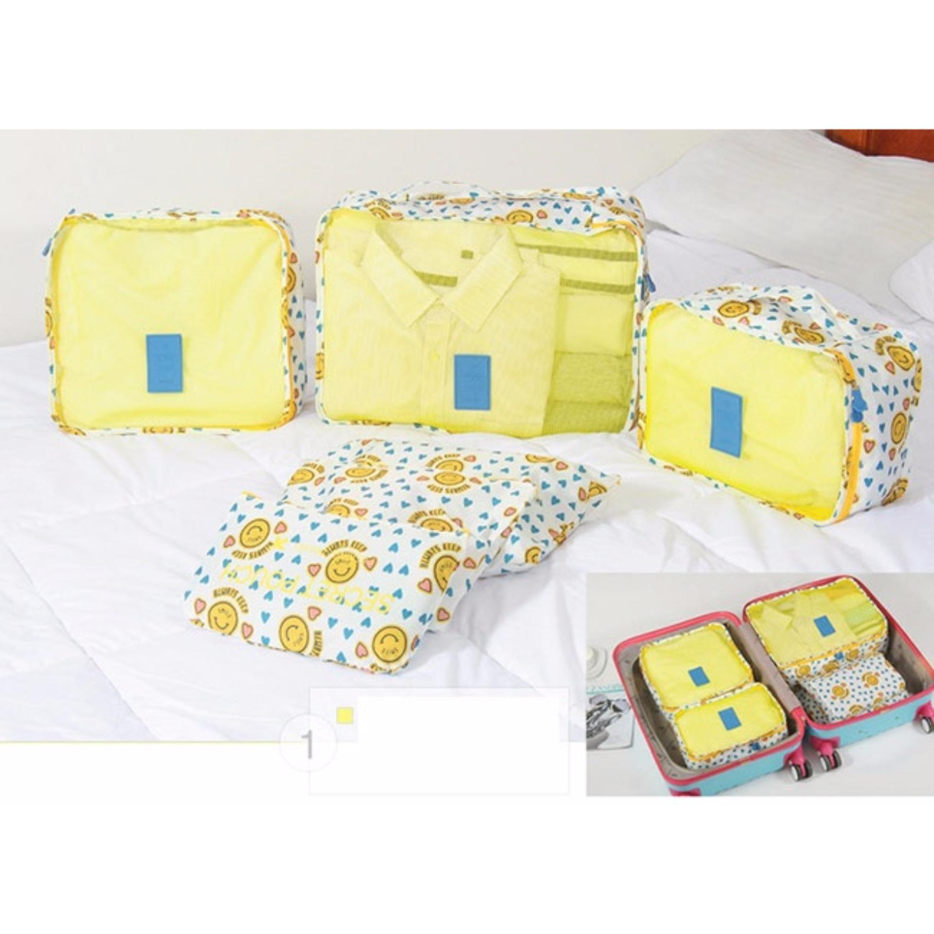Tư vấn mua Bộ 6 túi du lịch chống thấm Chodeal24h – Mặt cười tim – Vàng