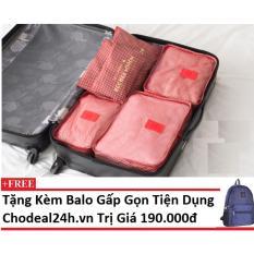 Bộ 6 túi du lịch chống thấm Chodeal24h – Sao 4 cánh – Đỏ + Tặng kèm balo gấp gọn du lịch