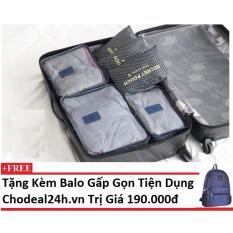 Bộ 6 túi du lịch chống thấm Chodeal24h – Sao 4 cánh – xanh đậm + Tặng kèm balo gấp gọn du lịch
