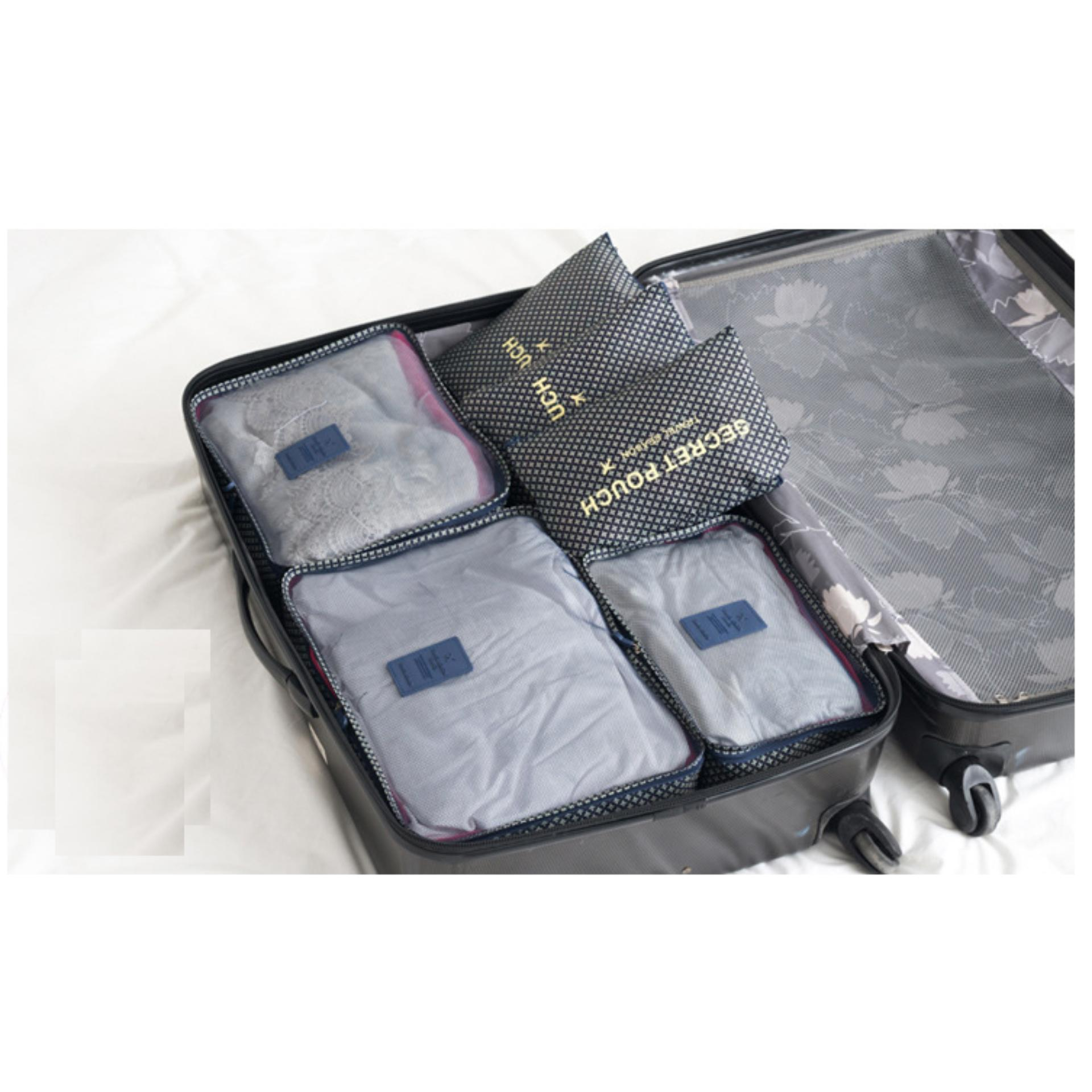 Bộ 6 túi du lịch chống thấm – Xanh dương đậm sao 4 cánh dàng cho nam