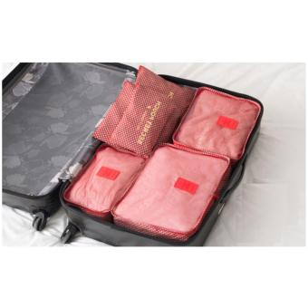 Bộ 6 túi du lịch kiểu hàn quốc chống thấm RainStore - Sao 4 cánh Đỏ