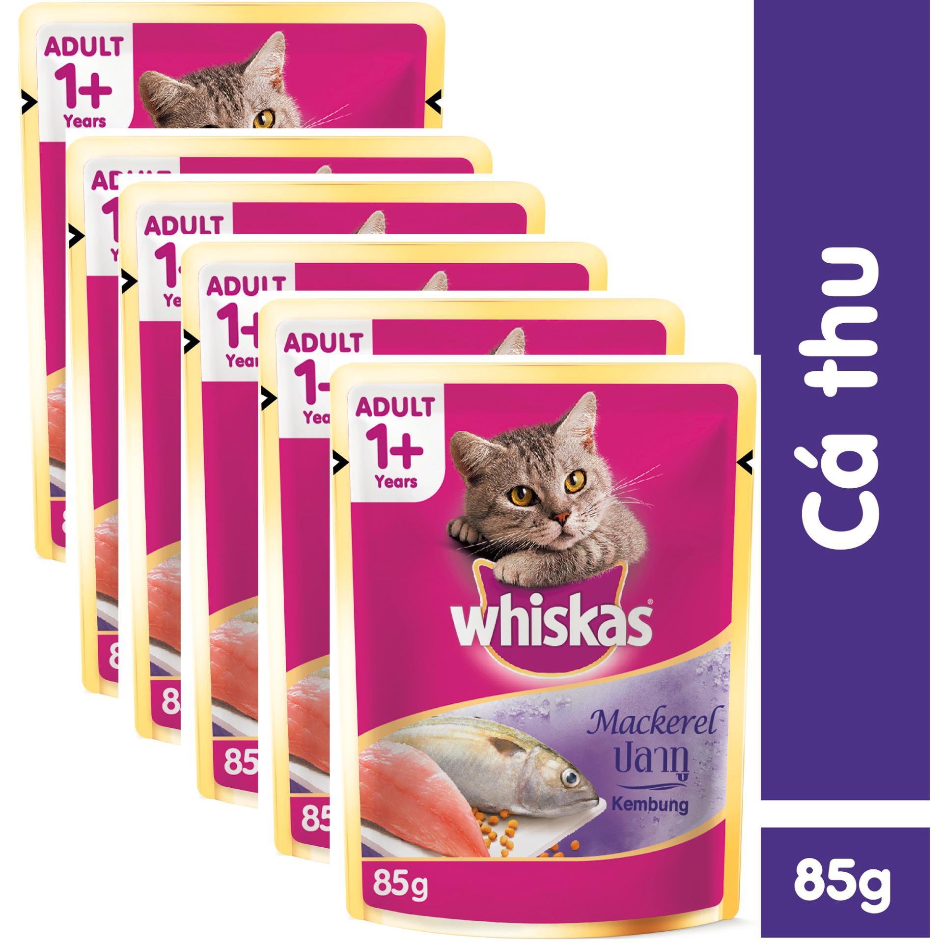 Địa Chỉ Bán Bộ 6 túi thức ăn cho mèo Whiskas vị cá thu 85gr