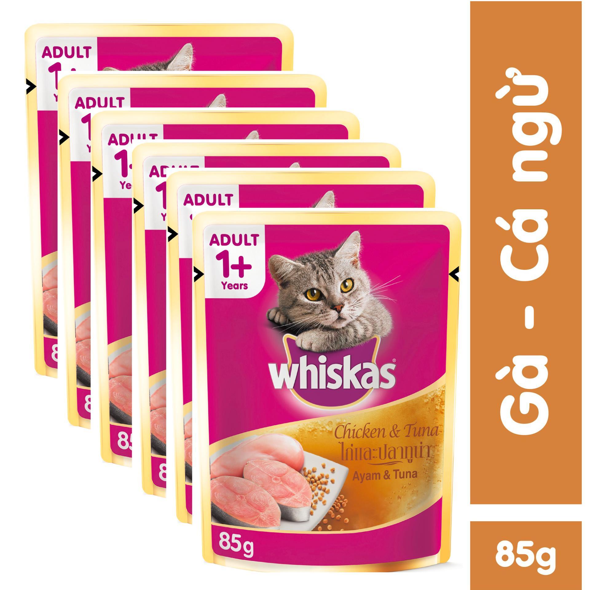 Bộ 6 túi thức ăn mèo lớn Whiskas vị gà & cá ngừ 85gr