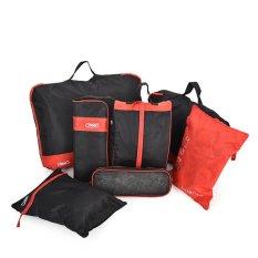 Bộ 7 túi đựng đồ du lịch Kiểu dáng thể thao Đa năng (Đen đỏ)