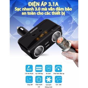 Bộ chia tẩu sạc oto, xe hơi cao cấp 2 tẩu - 2 cổng USB HYUNDAI Có LED báo ắc quy - 2